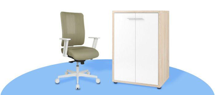 Bürostuhl und Büroschrank