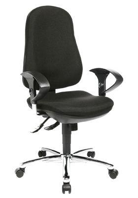 Topstar bureaustoel Support® Synchro Deluxe, met armleuningen, synchroonmechanisme, tussenwervelschijfzitting, ergonomische rugleuning, zwart/chroomzilver