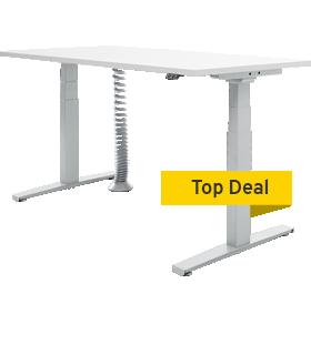 höhenverstellbarer Schreibtisch + Kabelspirale