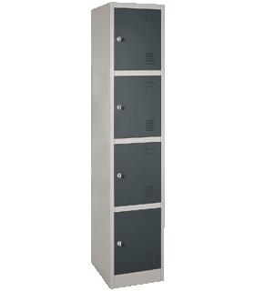 Schließfachschrank, Stahl, Zylinderschloss, mit Etikettenhalter, 4 Fächer