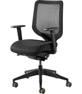 Silla de oficina XT, con reposabrazos, mecanismo sincrónico, respaldo de malla, asiento tapizado plano, negro