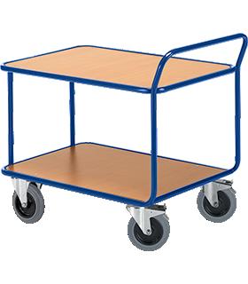 Carrito de transporte con mesa, 2 niveles, hasta 500 kg, ruedas TPE, acero revestido de polvo azul genciana RAL 5010, L 800 x An 500 mm