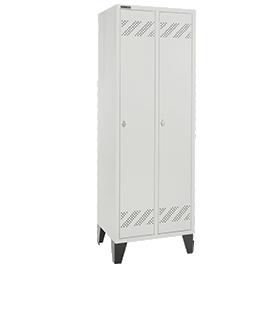 Taquilla, 2 compartimentos, con patas, cierre de pasador giratorio, gris luminoso/gris luminoso