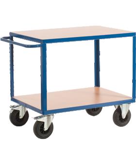 Carro de transporte, 2 estantes, hasta 600 kg, plataforma de carga L 1200 x A 800 mm, acero