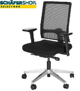 Silla giratoria NET MATIC, con reposabrazos, mecanismo autosincrónico, asiento continuo, respaldo de malla, negro/aluminio