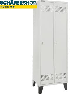 Kledinglocker, 2 compartimenten, B 630 x D 500 X H 1850 mm, met poten en draaigrendelslot, lichtgrijs/lichtgrijs