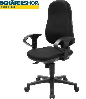 Bureaustoel Support CLEAN, met armleuningen, synchroonmechanisme, tussenwervelschijfzitting, antibacteriële bekleding, zwart