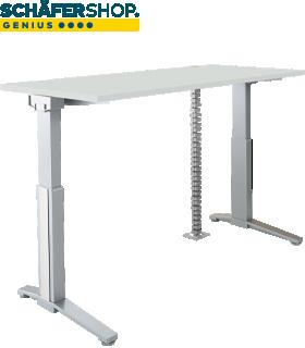 PLANOVA ERGOSTYLE bureautafel, elektrisch in hoogte verstelbaar B 1600 mm + accentstrips + kabelslang GRATIS, lichtgrijs
