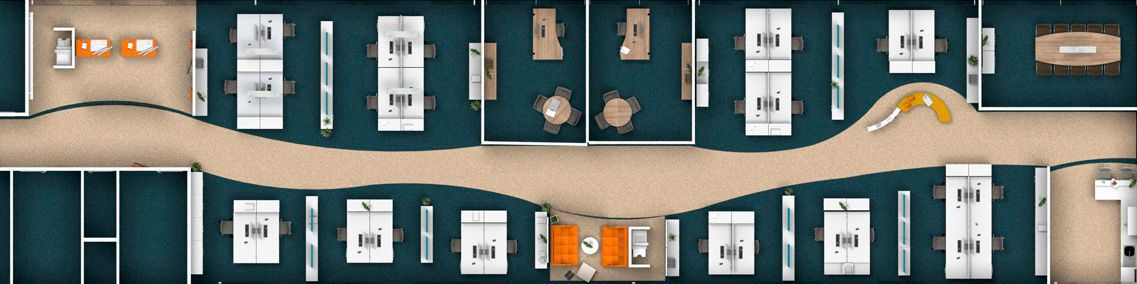 Gedetailleerde CAD-planning van een kantoor