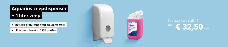 Aquarius zeepdispenser +1 liter gratis