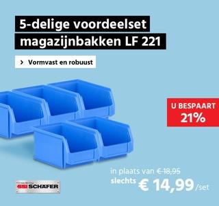 5-delige voordeelset magazijnbakken met zichtopening SSI Schäfer LF221